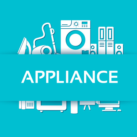 iron fan: Flat modern kitchen appliances set icons concept. Vector illustration design for web and mobile Illustration