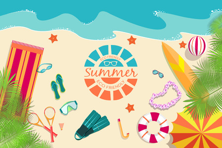 palm wreath: summer vecetion time background vector illustration Illustration
