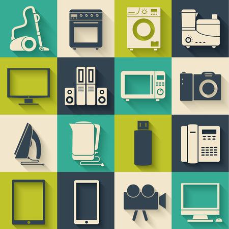 modern home: Flat modern home electronics appliances set icons concept. Vector illustration