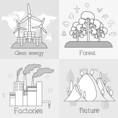 生態学、環境、緑のクリーン エネルギーおよび汚染の背景のフラットなセットです。ベクトルの概念図。細い線