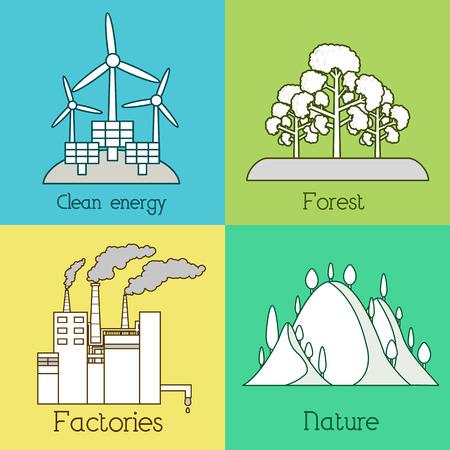 生態学、環境、緑のクリーン エネルギー、汚染の背景のフラットなセットです。ベクトルの概念図。細い線