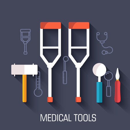flat medical equipment set icons crutches concept background Vector