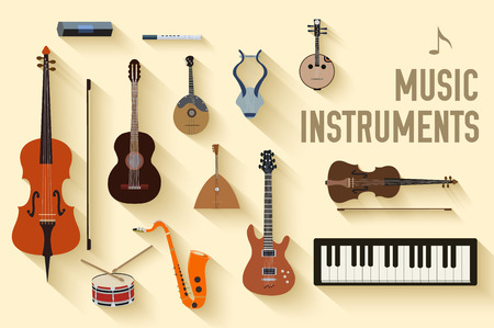 bass: flat music instruments background concept. Vector illustrator Illustration
