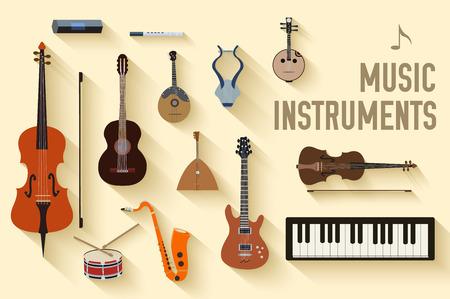 nota musical: instrumentos musicales planas fondo de concepto. Vector ilustrador