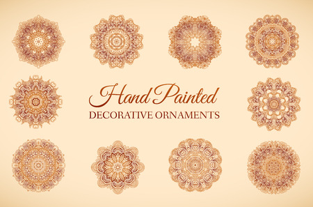retro art: Hand drawn set abstract background ornament illustration concept. Vector decorative retro banner of card or invitation design. Vintage traditional, Islam, arabic, indian, ottoman motifs Illustration