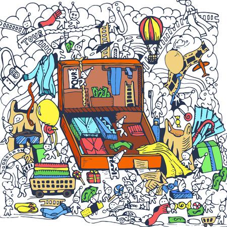 hand draw travel backpack with clothing sketch background design Ilustração