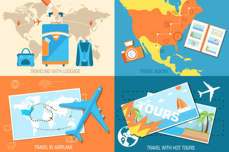 tour of the world banners concept. Tourism with fast travel on a flat design style Vector