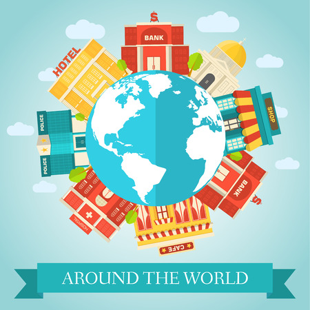 sity: Flat colorful vector sity around of the world buildings Illustration
