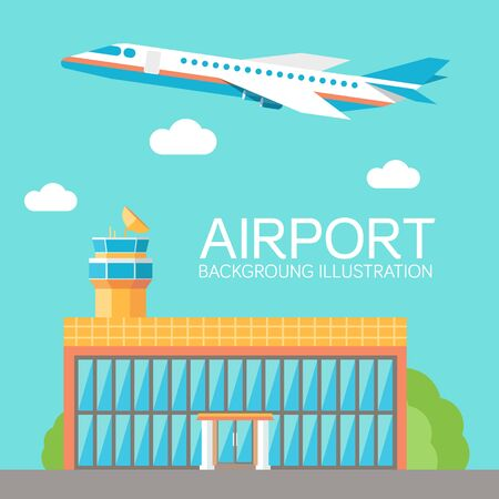 private jet: flat building airport with flying plane tour concept background