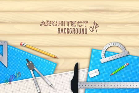 drafting tools: Architect wood table project with professional equipment background concept. Vector illustration design