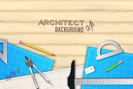 professional equipment: Architect wood table project with professional equipment background concept. Vector illustration design