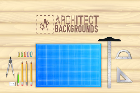 plans: Architect wood table project with professional equipment background concept. Vector illustration design