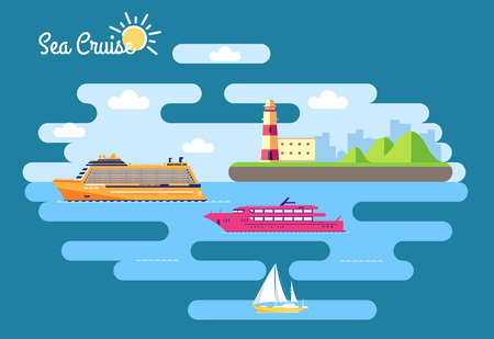 bulk carrier: Set of flat yacht, scooter, boat, cargo ship, steamship, ferry, fishing boat, tug, bulk carrier, vessel, pleasure boat, cruise ship with blue sea background concept Illustration