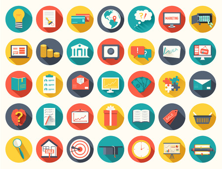 folder icons: Big collection business, education, online training, marketing  background concept