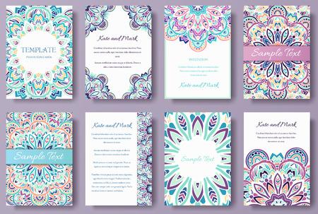 tarjeta postal: Conjunto de viejos cola de hadas páginas viajero ornamento ilustración de concepto. Arte de la vendimia tradicional, Islam, árabe, indio, motivos otomanos, elementos
