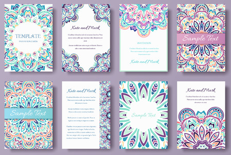 Set of old fairy tail flyer pages ornament illustration concept. Vintage art traditional, Islam, arabic, indian, ottoman motifs, elements Illustration
