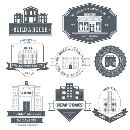logo home: City buildings label template of emblem element for your product or design, web and mobile applications with text. Vector illustration with thin lines isolated icons on stamp symbol. Illustration