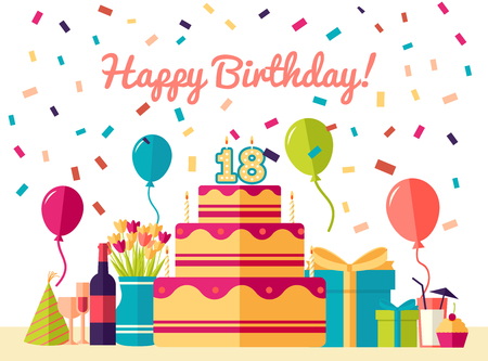 Flat happy Birthday festive background with confetti icons set. Party and celebration design elements: balloons, confetti, cake, drinks, gifts