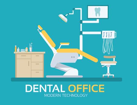 フラット歯医者事務所イラスト デザイン背景。カラフルなテンプレート デザイン、web およびモバイル アプリケーションのためのベクトル図