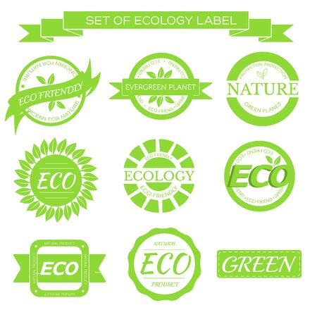 seal: eco, nature, organic white label on isoleted green background concept. Vector illustration for colorful template for you design, web and mobile applications