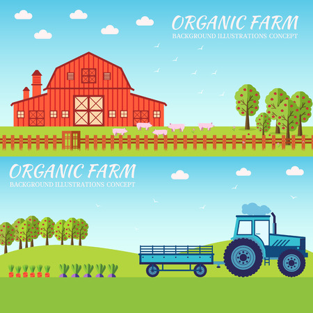 Flat farm in village set sprites and tile sets. instruments, flowers, vegetables, fruits, hay, farm building, animals, tractor, Vector