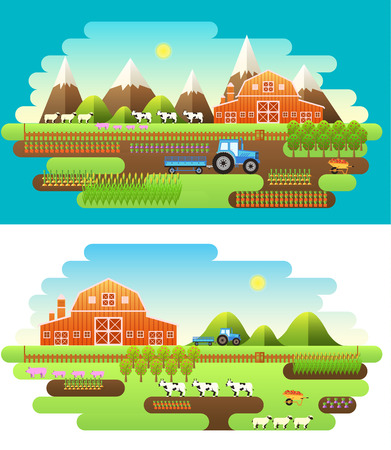 Flat farm in village set sprites and tile sets. instruments, flowers, vegetables, fruits, hay, farm building, animals, tractor, tools, clothing. Vector illustrations design background Vector