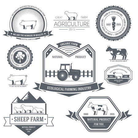 cow pasture: farm label template of emblem element for your product or design, web and mobile applications with text. Vector illustration with thin lines isolated icons on stamp symbol.