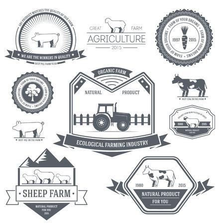 rancho: plantilla de la etiqueta granja del elemento emblema para su producto o el diseño, web y aplicaciones móviles con el texto. Ilustración del vector con líneas delgadas iconos aislados en símbolo sello.
