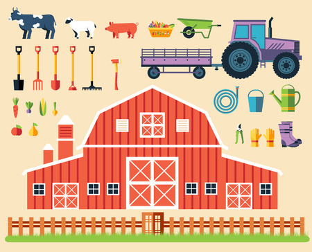 Flat farm in village set sprites and tile sets. instruments, flowers, vegetables, fruits, hay, farm building, animals, tractor, tools, clothing. Vector illustrations design background concept Ilustração