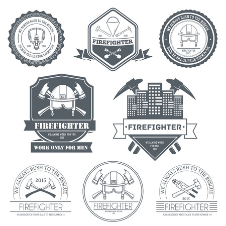 firefighter label template of emblem element for your product or design, web and mobile applications with text. Vector illustration with thin lines isolated icons on stamp symbol Ilustração