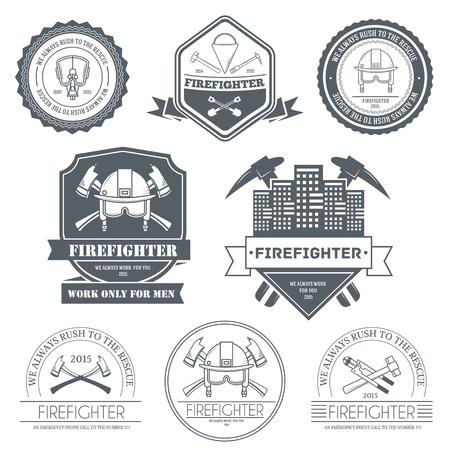 bombero de rojo: plantilla de la etiqueta del bombero elemento emblema para su producto o el diseño, web y aplicaciones móviles con texto. Ilustración del vector con líneas delgadas iconos aislados en símbolo sello