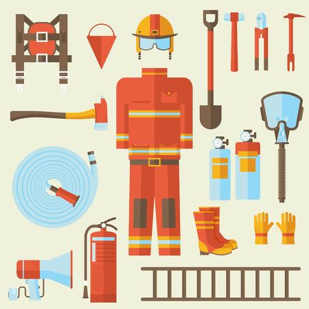 制服と最初の消防士を助ける装置および器具。フラット スタイルの背景概念。あなたのデザイン、web およびモバイル アプリケーションのためのカ