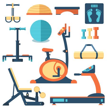aparatos electricos: Deporte de la aptitud del entrenamiento equipo de ejercicio gimnasio concepto conjunto plana. Ilustraci�n del vector para Plantilla de colorido para que el dise�o, web y aplicaciones m�viles.