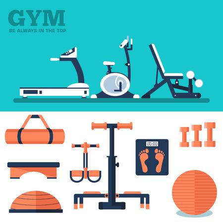 aparatos electricos: Deporte de la aptitud del entrenamiento equipo de ejercicio gimnasio concepto conjunto plana. Ilustración del vector para Plantilla de colorido para que el diseño, web un