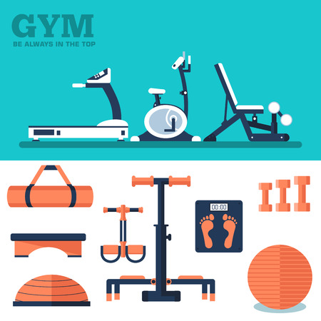 exercise equipment: Fitness sport gym exercise equipment workout flat set concept.  Vector illustration for colorful template for you design, web a