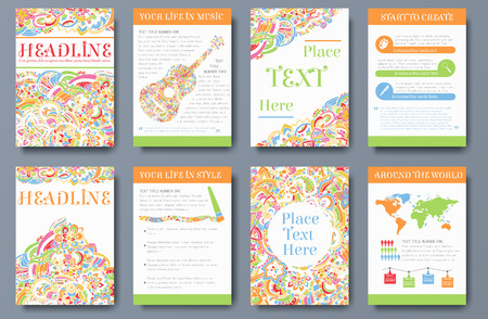 Set of bright ornament abstract flyer with infographic elements. Brochure background templates design concept. Vector decorative traditional, Islam, arabic, indian, ottoman motifs, elements.
