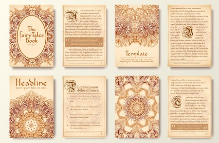 Set of old fary tail flyer pages ornament illustration concept. Vintage art traditional, Islam, arabic, indian, ottoman motifs, elements. Vector decorative retro greeting card or invitation design. Vectores