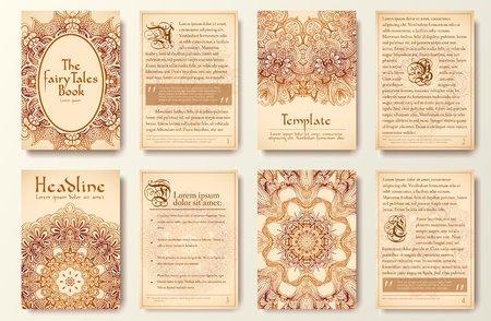 edad media: Conjunto de viejos Fary p�ginas viajero cola el ornamento ilustraci�n concepto. Arte del vintage tradicional, Islam, �rabe, indio, motivos otomanos, elementos. Vector tarjeta de felicitaci�n decorativa retro o dise�o de la invitaci�n. Vectores