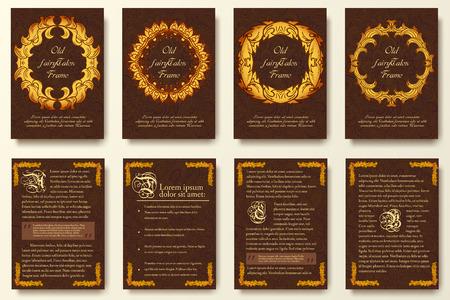ファリー尾フライヤー ページ飾り図概念のセットします。ビンテージ アート、伝統的なイスラム教、アラビア語、インド、オスマン帝国のモチーフ  イラスト・ベクター素材