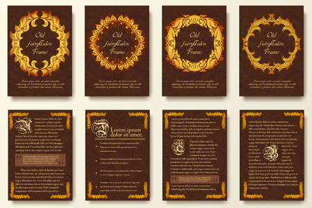 Set of old fary tail flyer pages ornament illustration concept. Vintage art traditional, Islam, arabic, indian, ottoman motifs,