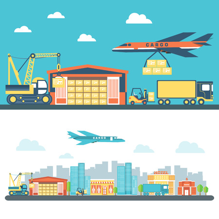 distribution: Flat logisticequipment and delivery service background concept. Vector illustration for colorful template for you design, web and mobile applications.