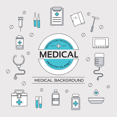 first aid kit: set flat medical icons illustration concept. Vector background with medicine label. Thin lines outline design