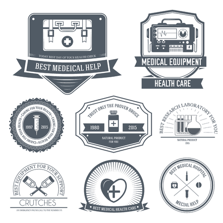 medical label template of emblem element for your product or design, web and mobile applications with text. Vector illustration with thin lines isolated icons on stamp symbol. Vector