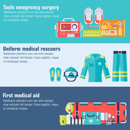 surgical glove: medical rescue uniform and set first aid help equipment and instruments banners. On flat style background concept. Vector illustration for colorful template for you design, web and mobile applications