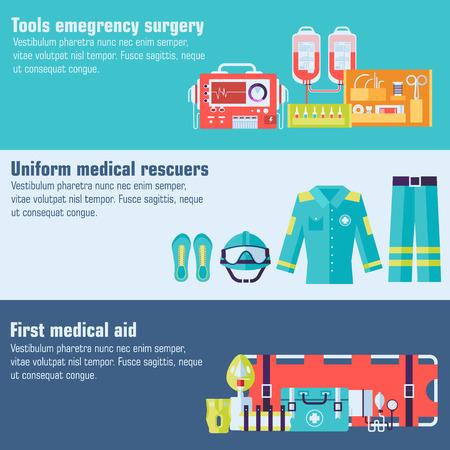 medische rescue uniform en stel EHBO-hulp apparatuur en instrumenten banners. Op vlakke stijl achtergrond concept. Vector illustratie voor kleurrijke sjabloon voor u ontwerpen, web en mobiele toepassingen