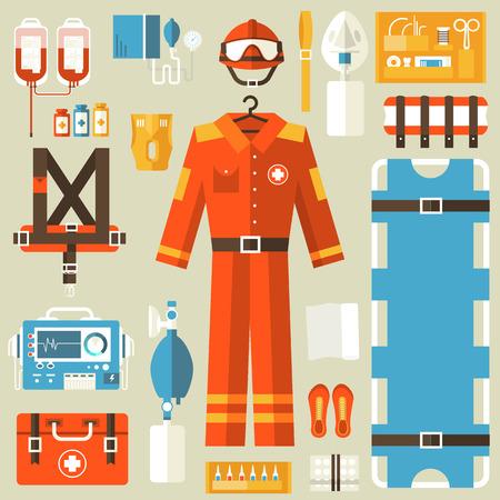 ambulancia: uniforme de rescate m�dico y establecer los primeros auxilios equipos e instrumentos de ayuda. El plano de fondo el concepto de estilo. Ilustraci�n del vector para Plantilla de colorido para que el dise�o, aplicaciones web y m�viles Vectores