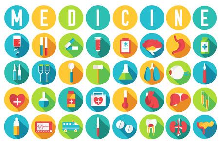 equipos medicos: establecer equipos m�dicos planas y humano anatom�a carrocer�a �rganos iconos ilustraci�n concepto. Vector el dise�o de fondo. Plantilla de colores para que el dise�o, web y aplicaciones m�viles