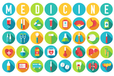 set flat medical equipments and human anatomy body organs icons illustration concept. Vector background design. Colorful template for you design, web and mobile applications Ilustração