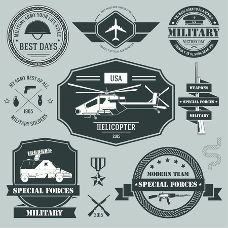 typography design: military set label template of emblem element for your product or design, web and mobile applications with text. Vector illustration with thin lines isolated icons on stamp symbol.