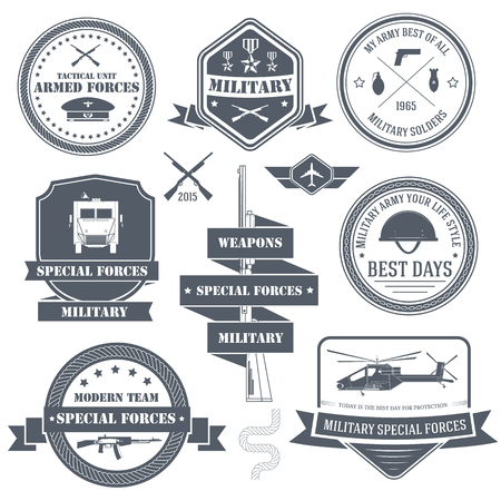 military set label template of emblem element for your product or design, web and mobile applications with text. Vector illustration with thin lines isolated icons on stamp symbol.